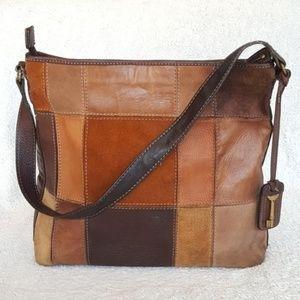 Fossil Leather Suede Patchwork 1954 Shoulder Bag